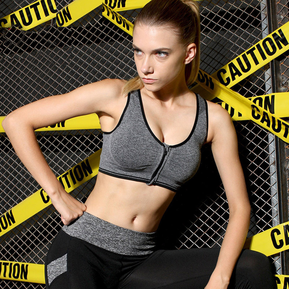 ca4ef68ed12 Large Size Women Sport Bra Running Front Zipper Moverment Bra Yoga Padded  Fitness Tops Tank Cycling Workout Sport Bra Plus Size