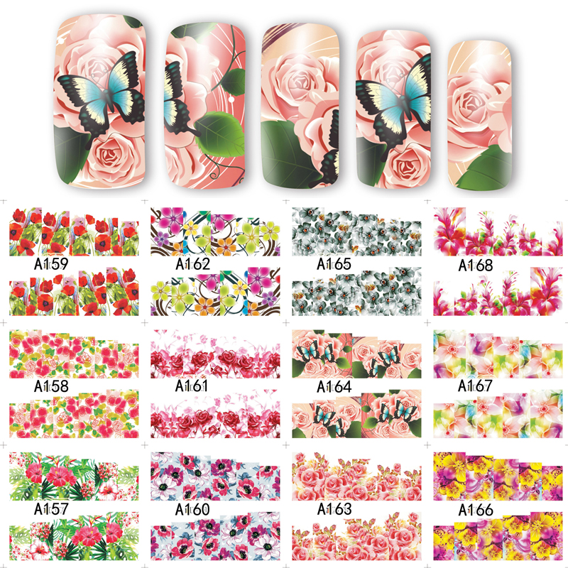 12 Sheets 12 Styles Rose Pattern Water Transfer Nail Art Stickers Water Slide Decals Nail Wraps TIps Decoration A157-168 12 sheets nail sticker water transfer decals full wraps cat flowers feather design nail art set red decoration tips sastz501 512