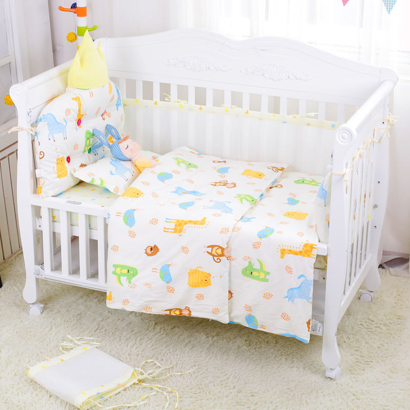 Bumpers Friendly 6pcs Cartoon Baby Bedding Sets Baby Crib Bumpers Bed Around Cot Bed Sheets 100%cotton Thickening Customizable Baby Beddings Baby Bedding
