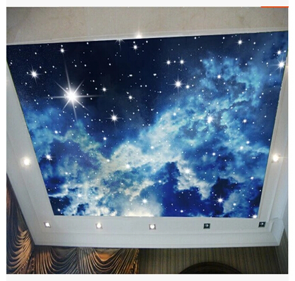 Cosmic sky blue sky and white clouds wallpaper. 3d stereoscopic ...