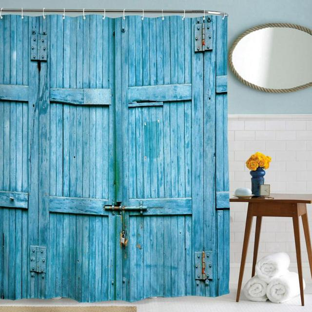 Nuevas puertas de granero de madera azul poli ster - Cortinas de madera para puertas ...