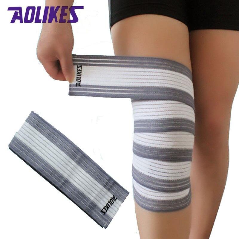 Prix pour AOLIKES 1 Paire 120*7.5 cm Remise En Forme Élastique Bandages Jambe Bande De Compression Pour Genou Elbow Wrap Sécurité dans les Sports 7 couleurs