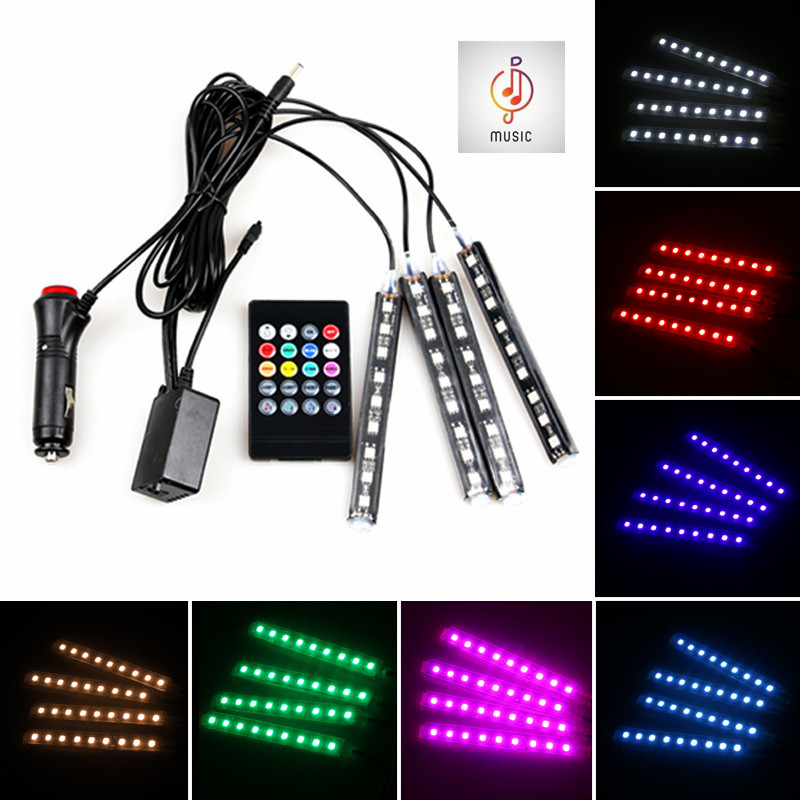 Car RGB LED Music Voice Sound Control Car Interior Decorative Atmosphere Auto RGB Pathway Floor Light Strip Remote Control 12V(China)