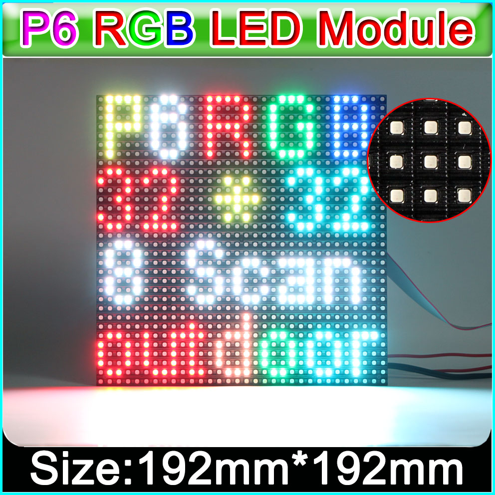 Optoelectronic Displays 192*192mm 32*32 Pixels; Waterproof Outdoor P6 Rgb Led Display Panel Smoothing Circulation And Stopping Pains Led Displays 3in1 Smd Full Color P6 Led Display Module,1/8 Scan