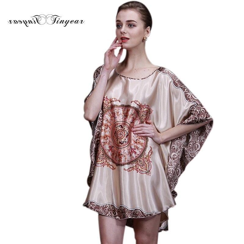 Tinyear 2017 New Summer Style Luxury Women Nightgown Silk Ladies ...