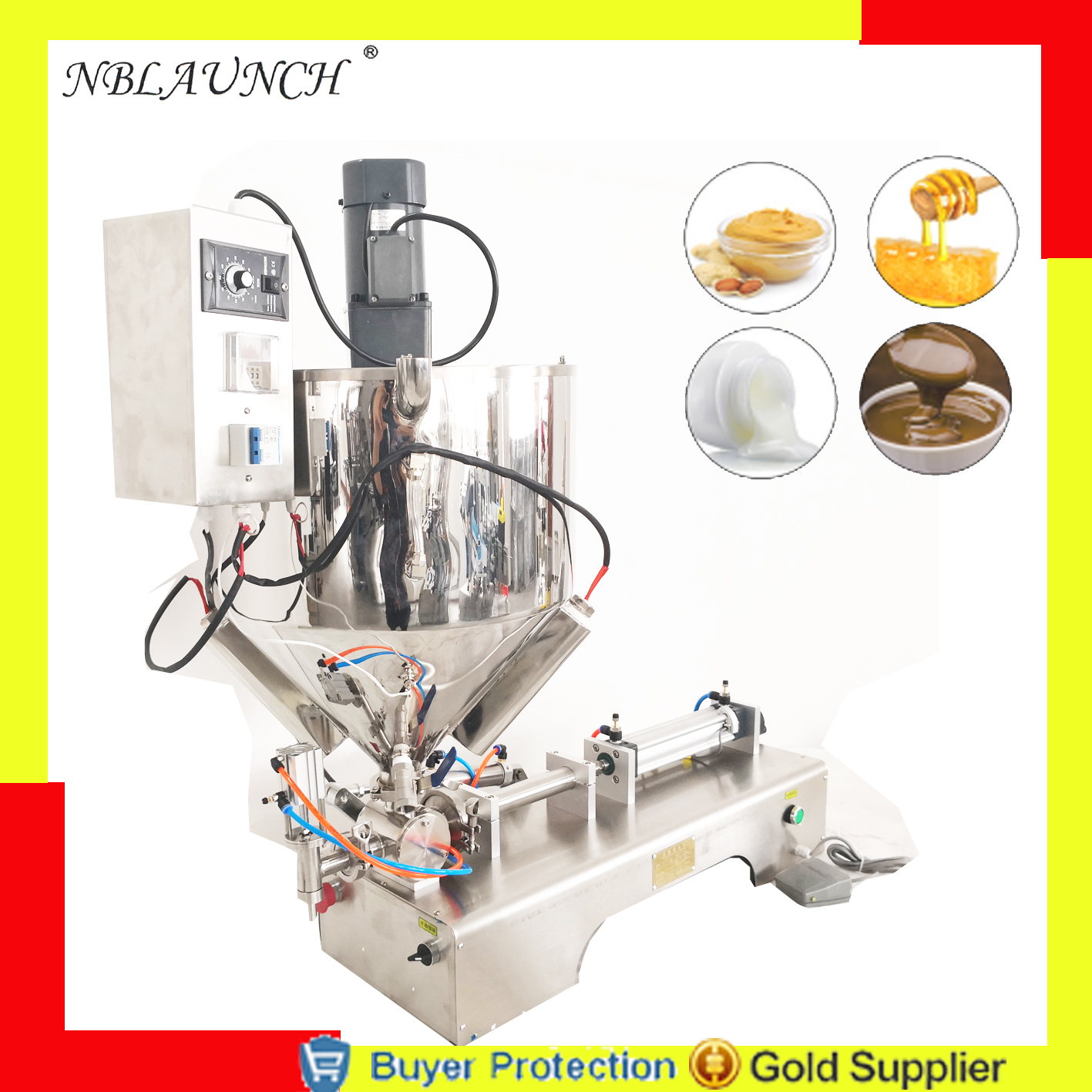 Free Shipping filling machine with mixer with mixing heater hopper jar honey pulp grease peanut butter chocolate granules filler Бутылка