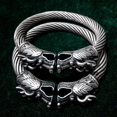 Miao bracelet double robinet argent cuivre blanc matière pur style rétro fait main pour faire l'ancienne imitation argent