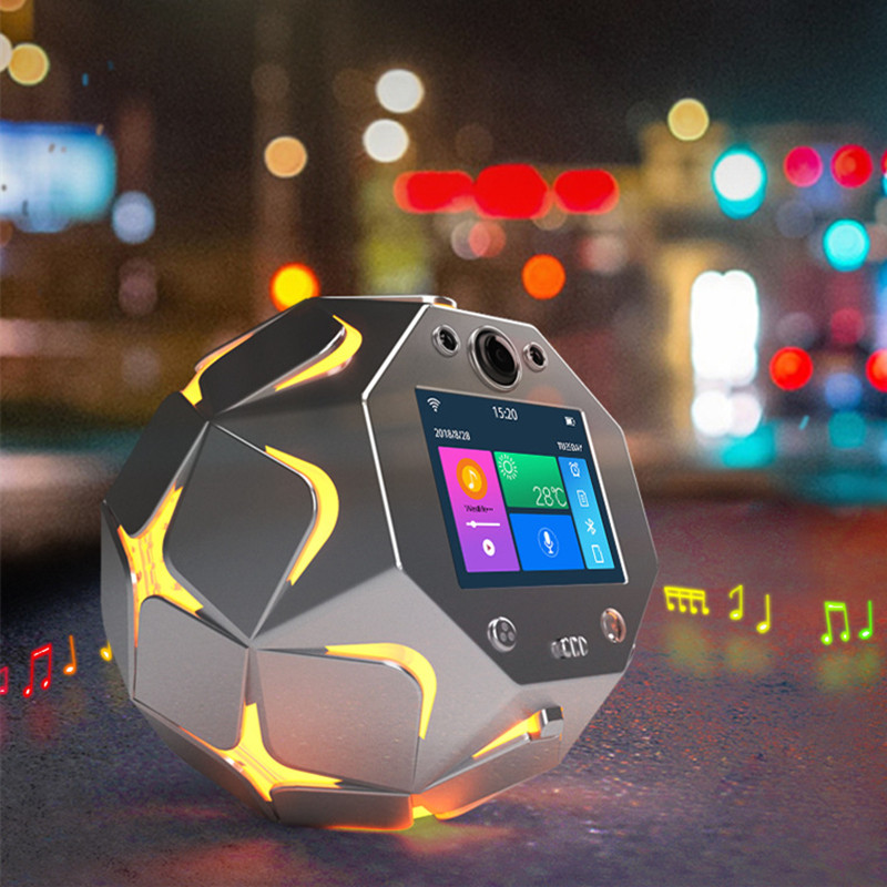 US $137 68 19% OFF|Smart Bluetooth Speaker Remote APP Wireless WiFi Camera  TF Card MP3 Player Stereo LED Light Audio Voice Broadcast Alarm Clock 4 -in