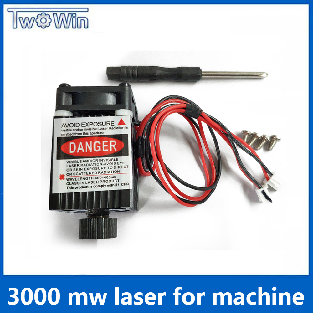 3000mw Laser For  CNC Laser Engraver DIY Logo Mark Printer Cutter Laser Engraving Machine Woodworking 80x80mm Engraving Range
