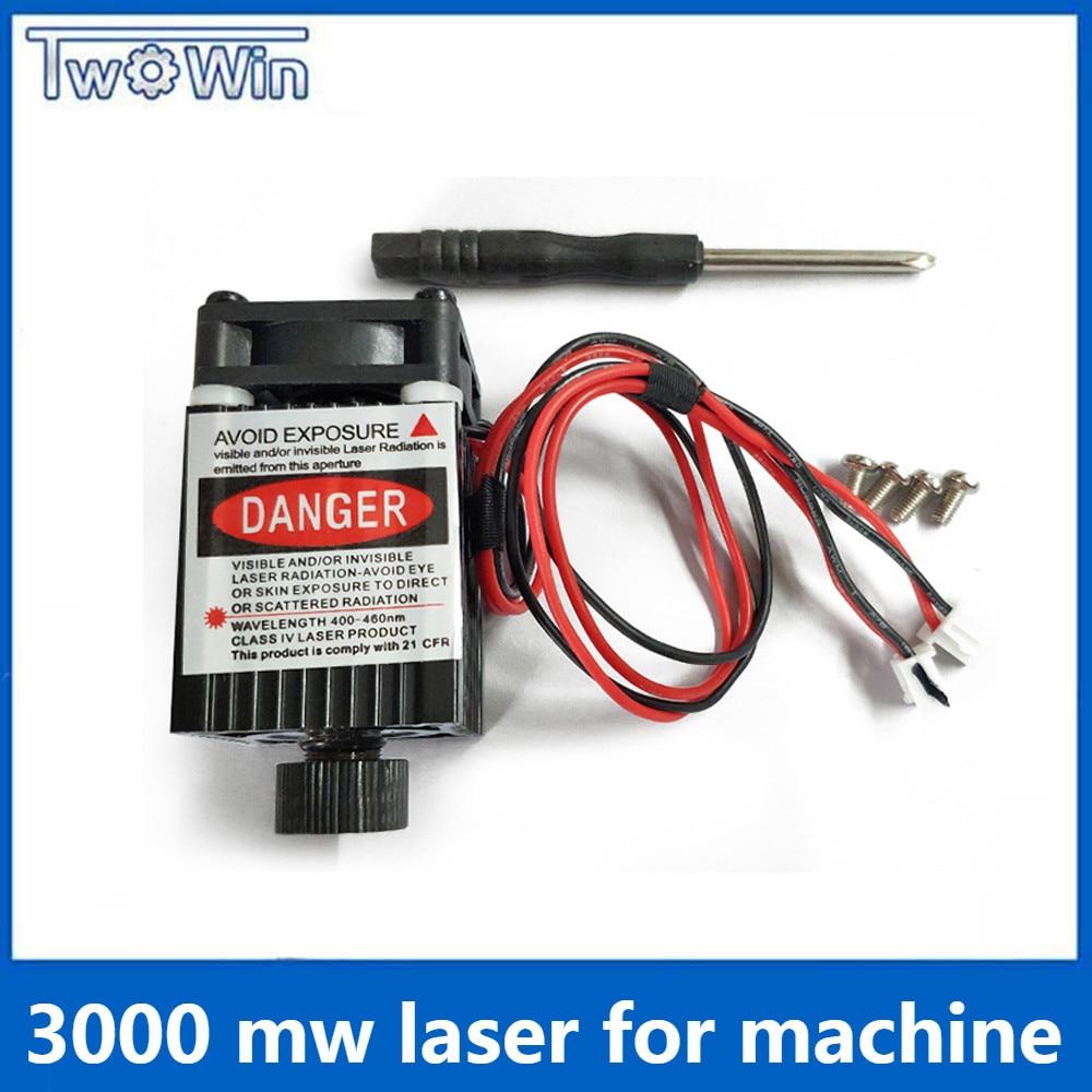 3000mw Laser For  CNC Laser Engraver DIY Logo Mark Printer Cutter Laser Engraving Machine Woodworking 80x80mm Engraving Range