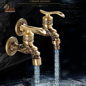 Image 1 - ZGRK grifo de latón frío para baño, grifos de jardín para exteriores, fregona para máquinas de lavado, grifo decorativo antiguo
