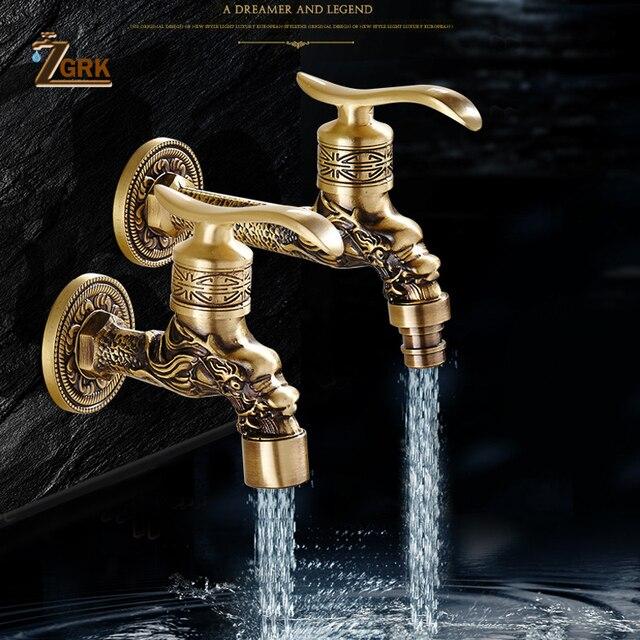 ZGRK grifo de latón frío para baño, grifos de jardín para exteriores, fregona para máquinas de lavado, grifo decorativo antiguo
