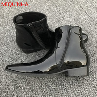 2017 Spring Autumn Popular Black Patent Leather Men Ankle Boots Pointed Toe Side Zipper Cool Fashion