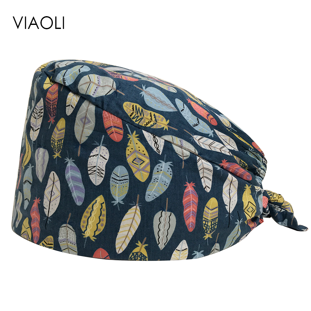 New Feather Prints Designer Surgical Caps Medical Operation Theater Cap Pattern Elastic Surgeon Hat 100% Cotton With Sweatband