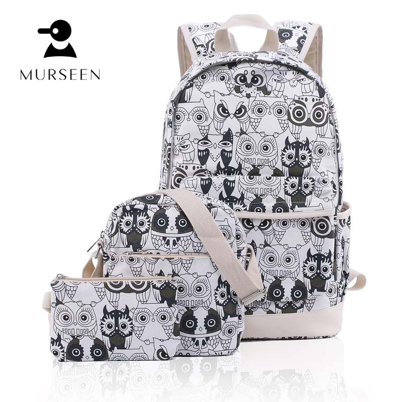 MURSEEN Women Backpack 2017 for School Canvas bags shoulder bag portfolios Mini Owl Printing Backpack for teenage girls bagpacks vintage cute owl backpack women cartoon school bags for teenage girls canvas women backpack brands design travel bag mochila sac