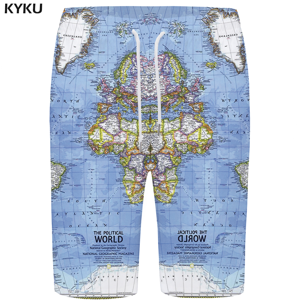 KYKU World Map   Board     Shorts   Men Blue   Short   Pants Phantom Pattern 3d Printed   Shorts   Beach Hip Hop Mens   Shorts   Casual Summer New