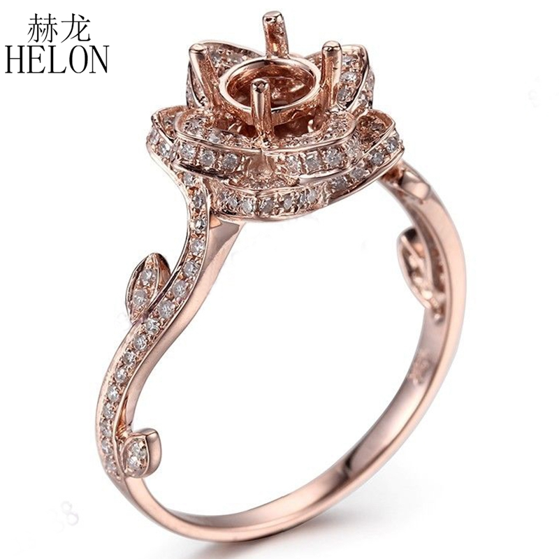 HELON Solid 10K (417) Rose Gold 6mm Round Semi Mount 0.6CT 100% Genuine Natural Diamond Flower Shape Ring For Women Fine Jewelry noble simple style round flower shape cuff ring for women