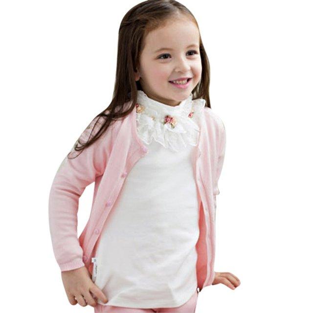 80f9a422f Gilrs القطن الياقة المدورة البلوزات الأزهار قميص الطفل الطفل بنات لينة  الملابس قمم قميص طويل الأكمام