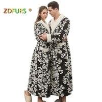 ZDFURS * new Lovers Long flower Coral Fleece Bathrobe Men Winter Soft Flannel Kimono Bath Robe Male Dressing Gown Mens Robes