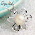 Special New Fashion Natural Pearls Maxi Necklaces & Pendants 925-Sterling-Silver Flower Necklace for Girls Women XL150406
