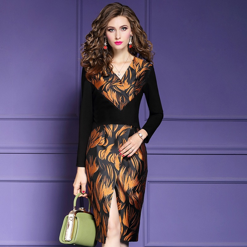 hot Pencil Office Lady Split dress 2019 new Superior quality Patchwork print Women Party Dress s
