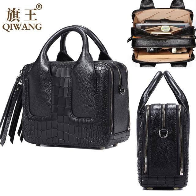 Qiwang Nice Box Bags Luxury Fashion Women Lay Bag 2017 Italian Crocodile Handbags Purse Leather Lady Hand Collection Bag