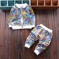 Conjuntos de recém-nascidos Do Bebê Das Meninas Dos Meninos dos desenhos animados do gato conjunto de roupas Crianças Outwear Jaquetas Com Zíper + Calças 2 pcs Terno Dos Esportes Dos Miúdos Outfits