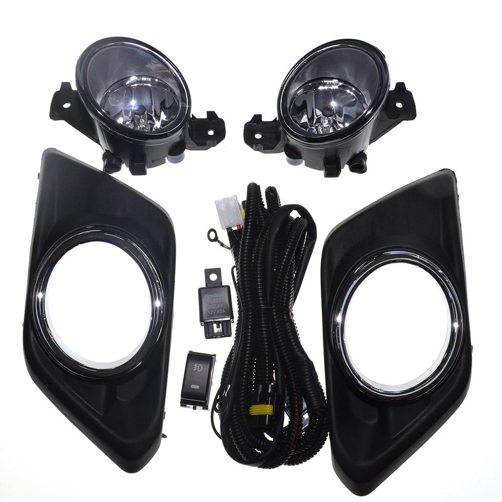 Brouillard Lumière Pour Nissan X Trail 2014 ~ 2016 Nouveau Une Paire (gauche et Droite) 12 V 6000 k Car styling Chrome Couverture Halogène Brouillard Lampe