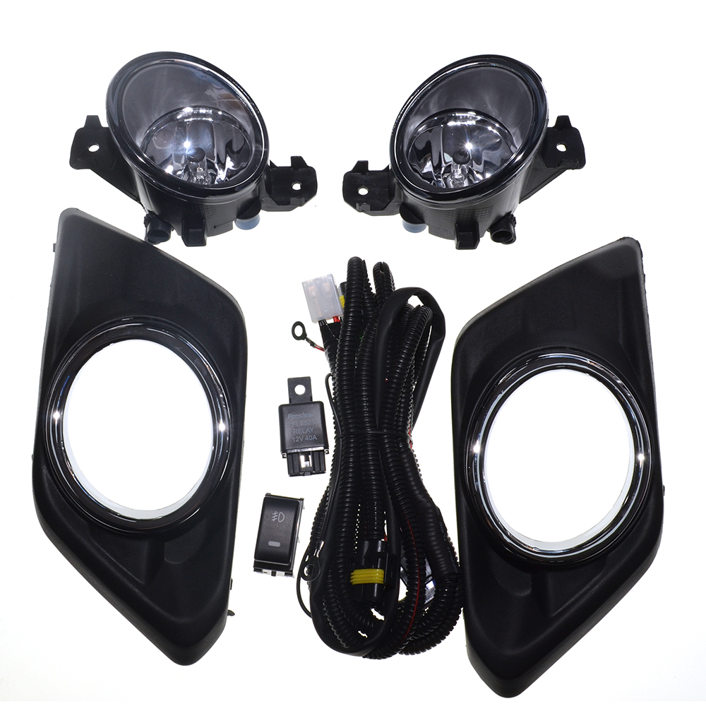 Fog Light For Nissan X Trail 2014~2016 New One Pair (Left & Right ) 12V 6000k Car styling Chrome Cover Halogen Fog Lamp new pair left