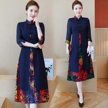 Navy blue women modern chinese dress long sleeve vintage print floral cotton linen plus size party dresses 2019 spring clothes