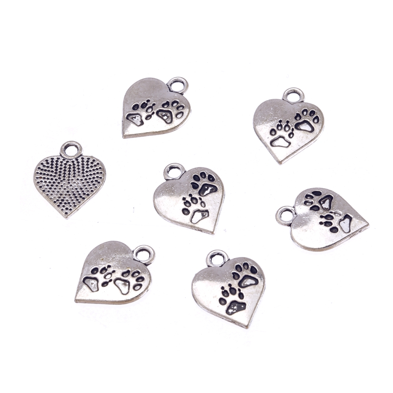12pcs Antique Silver Alloy Bear Cat Dog Paw Prints Heart Charm Pendant DIY Charms for Jewelry Making Findings 17x14mm E7086