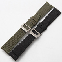 Stainless steel Buckle Deployment Clasp 20mm 21mm 22mm Watchband Green Black Nylon Watch strap for Sport