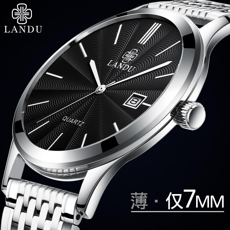 LANDU 7mm Slim Luxury Exquisite Business Quartz Wristwatches Men Father Watch Stainless Steel Charm Male Wristwatches Watch цена и фото