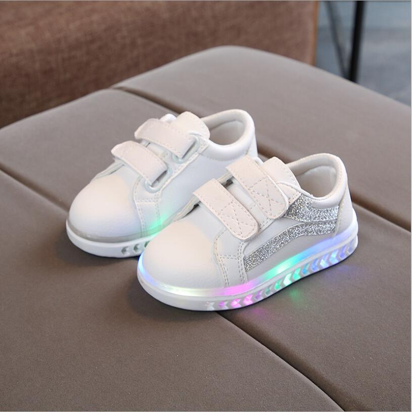 Kids Shoes With Lights New Spring Autumn Printed Toddler Boys Glowing Sneakers Children Sports Shoes For Baby Girls Led Sneaker