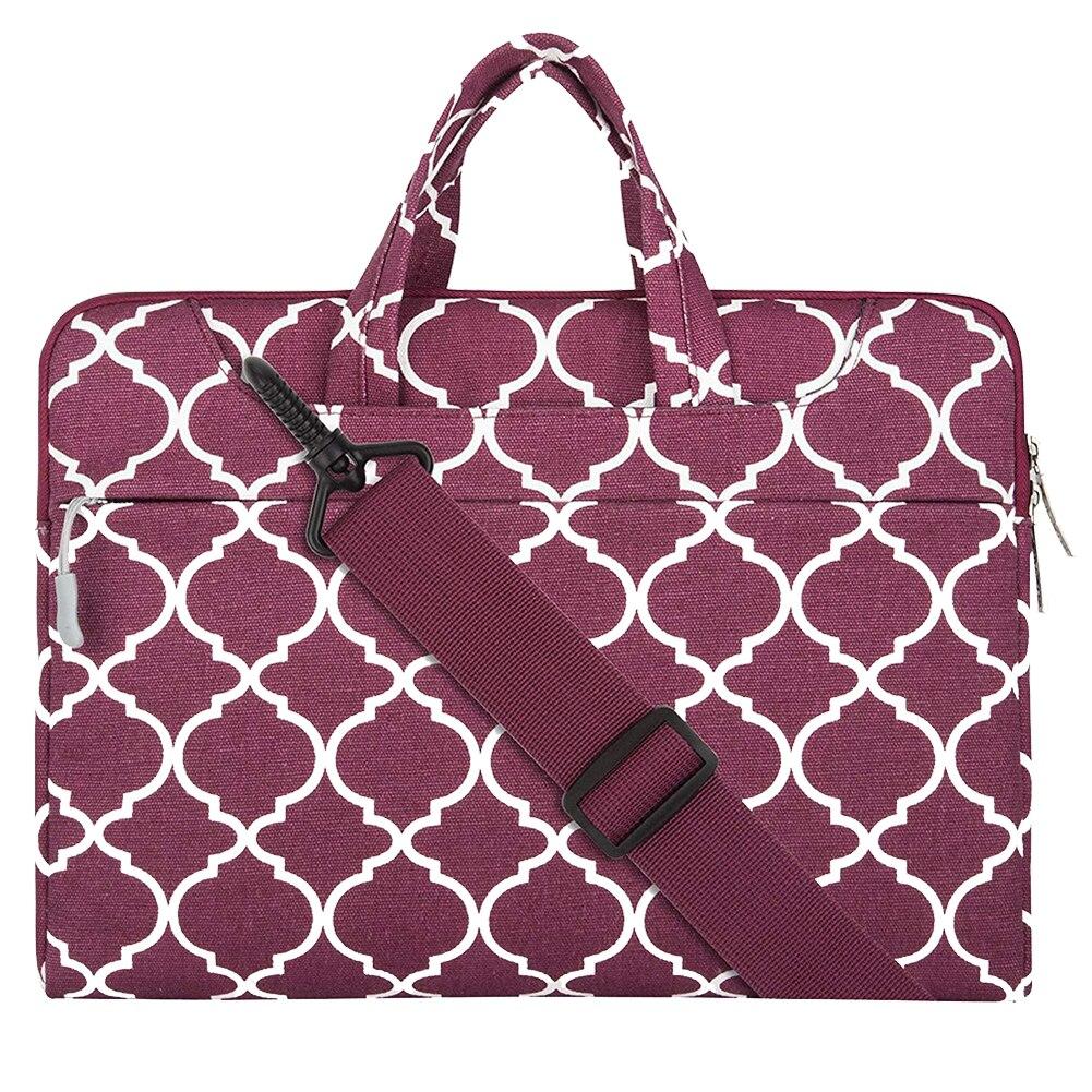 Men Women Rectangle Briefcase Laptop Handbags Canvas Business Travel Geometric Pattern Shoulder Bag Carrying Cover Gift Storage