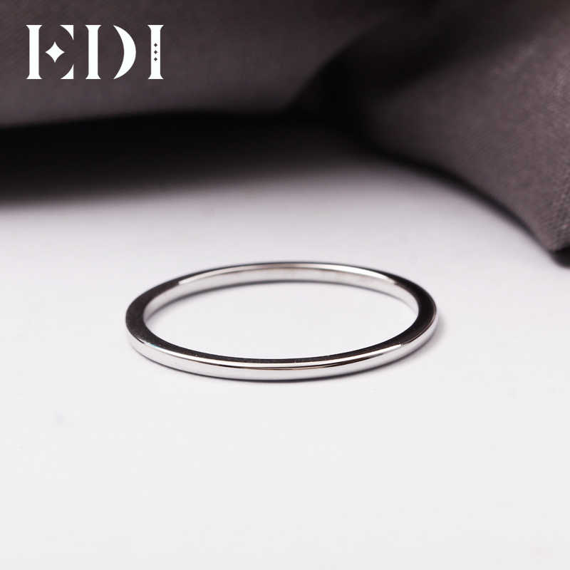 5c5a96137f9e67 ... EDI 1mm Thin Domed Wedding Band in 14K White Gold Classic 585 Solid Gold  Ring Band ...