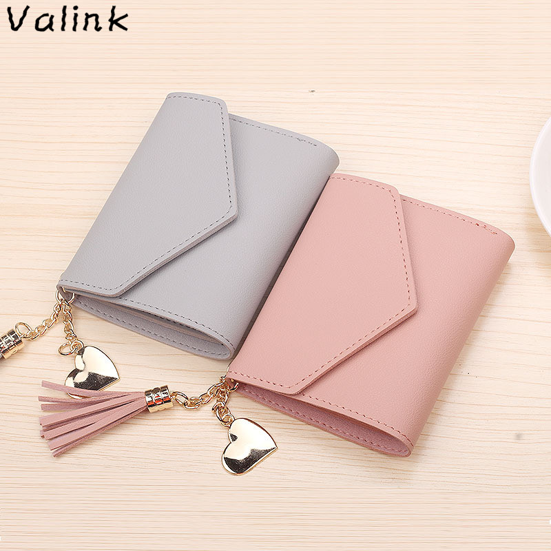 2018 Fashion Tassel Women Wallet for Credit Cards Small Luxury Brand Leather Short Womens Wallets and Purses Carteira Feminina