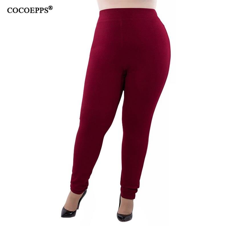 COCOEPPS 2019 Women Big Sizes Casual Pants trousers Solid Large Size Pants Autumn Slim trousers Plus Sizes Femme Pants 5XL 6XL