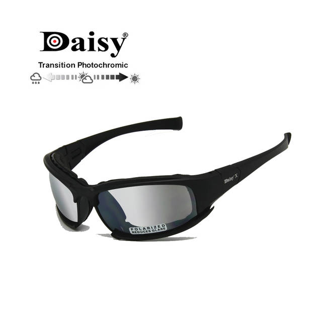 ad69405b06 Online Shop Transition Photochromic Polarized Daisy X7 Army Sunglasses  Military Goggles 4 Lens Kit War Game Tactical Men s Glasses Sports