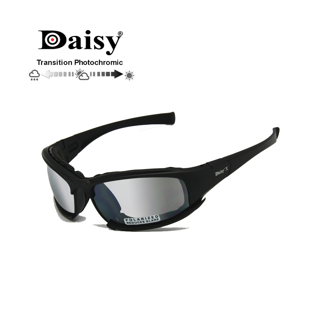 Transition Photochromic Polarized Daisy X7 Army Sunglasses Military Goggles 4 Lens Kit War Game Tactical Men's Glasses Sports