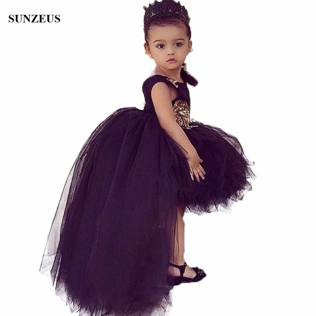 Black Flowers Girls Dress Short Front Long Back Tulle Party Dresses For  Childern High Low Puffy Kids Birthday Gown FLG006 173536c71f09