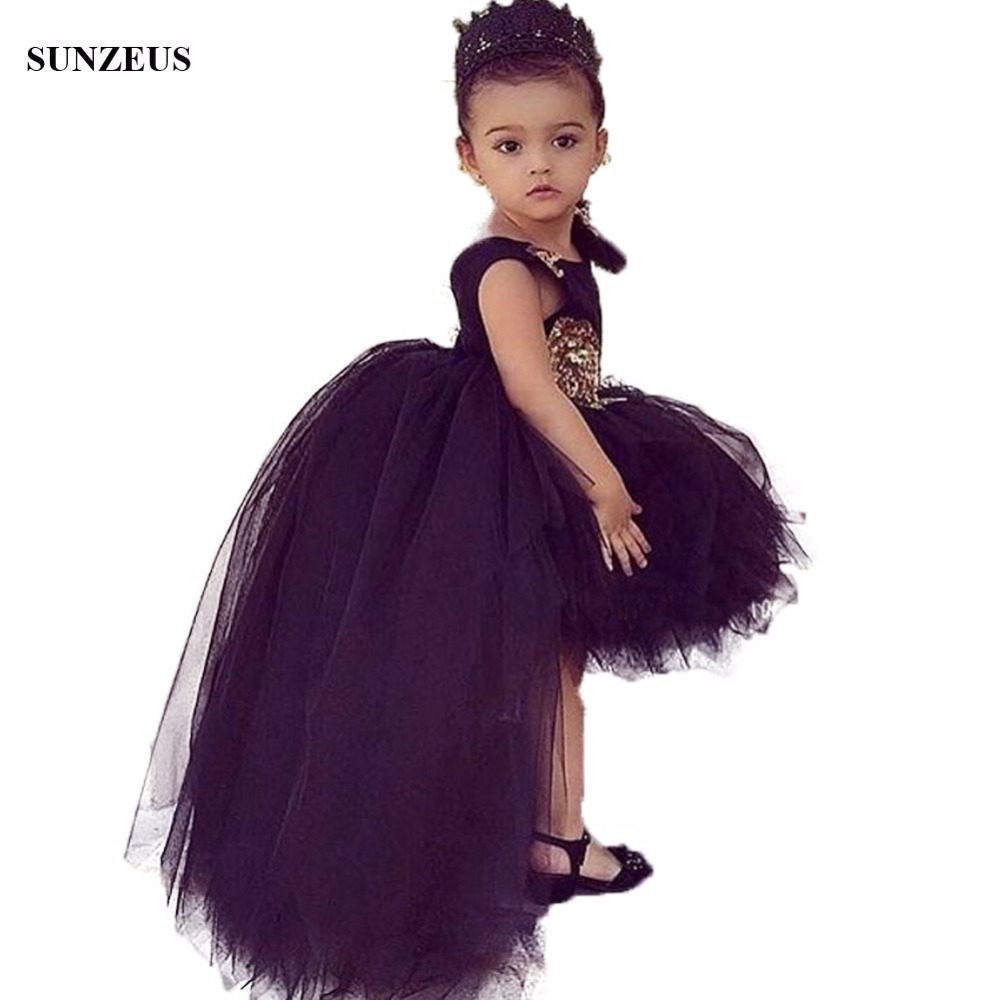 Black   Flowers     Girls     Dress   Short Front Long Back Tulle Party   Dresses   For Childern High Low Puffy Kids Birthday Gown FLG006