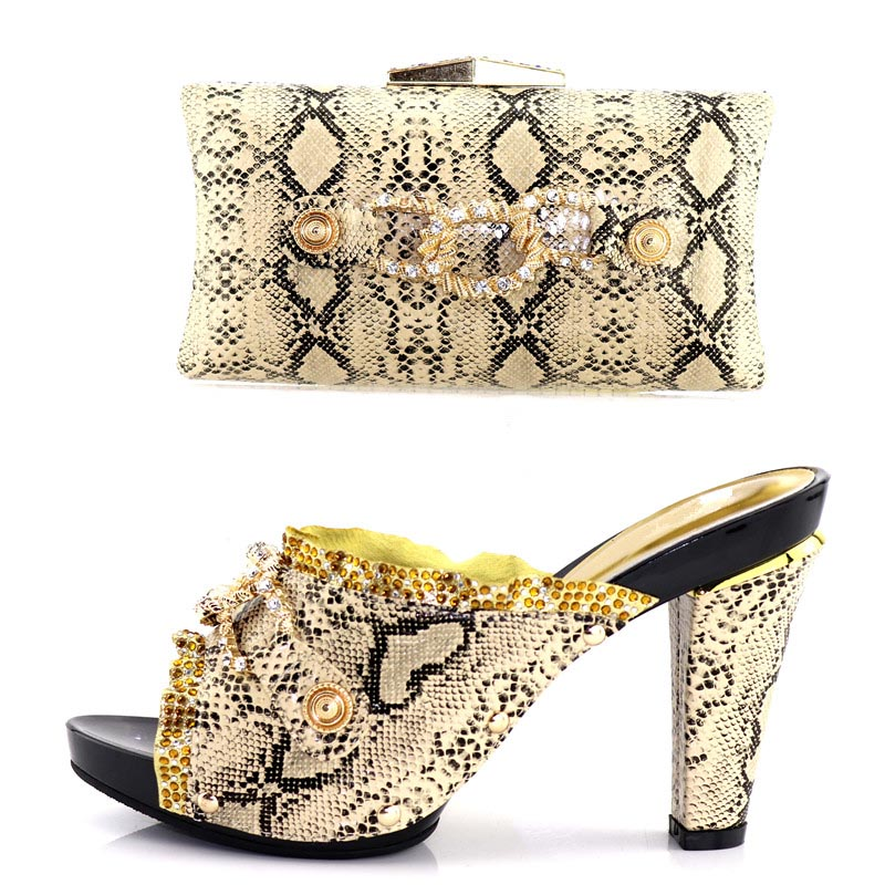 Newest style Gold Italian Shoe and Bag Set for Patry leopard print Women Italian African Party Pumps Shoes and Bags set