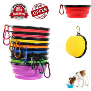 Foldable Silicone Dog Bowl Travel Portable Collapsible Feed Dishes Water Bowl