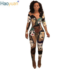 ff85226ce8 HAOYUAN 2017 3D Print Sexy Rompers Womens Jumpsuit Bodycon Slim Full  Bodysuit Elegant Long Sleeve Jumpsuit