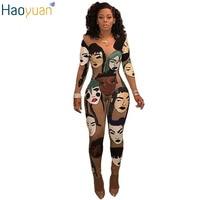 HAOYUAN 2017 3D Print Sexy Strampler Womens Jumpsuit Bodycon Schlank Voller Bodysuit Elegante Langarm Overall combinaison femme