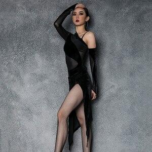 Image 3 - Vestido de baile latino de LICRA para mujer, ropa Sexy de baile de Salsa, vestidos de competición, Ropa de baile de corte alto para práctica de Samba 2020