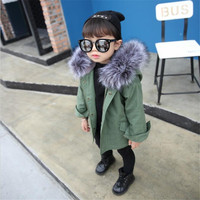 Autumn Winter Children Warm Cotton Coat Suit for Unisex Kids Hooded Fur Collar Zipper Thick Outerwear Baby Boys Girls Parka M26