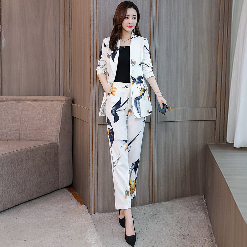 Set Female Pants Suit Suit Jacket 2019 Spring And Autumn New Fashion Printing Small Suit Jacket Casual Wide Leg Pants Two-piece