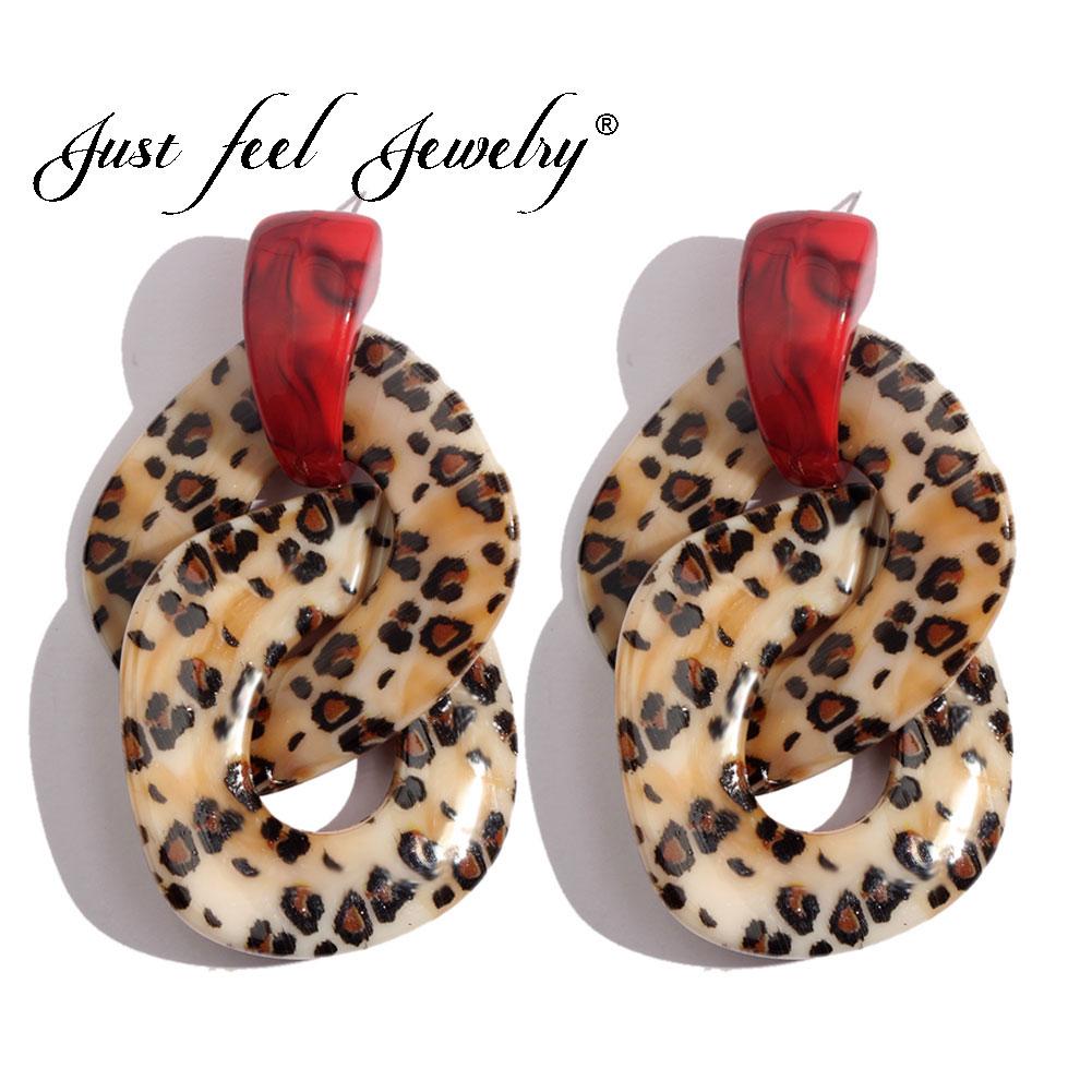 JUST FEEL Resin Leopard Dangle Earrings For Women Trendy Geometric Acetate Acrylic Drop Earring Simple Party Jewelry Accessories